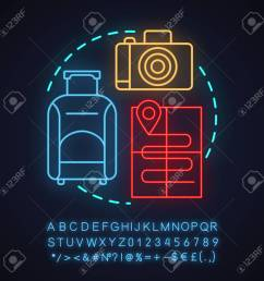 travel agency neon light concept icon going on trip idea travel planning baggage [ 1300 x 1300 Pixel ]