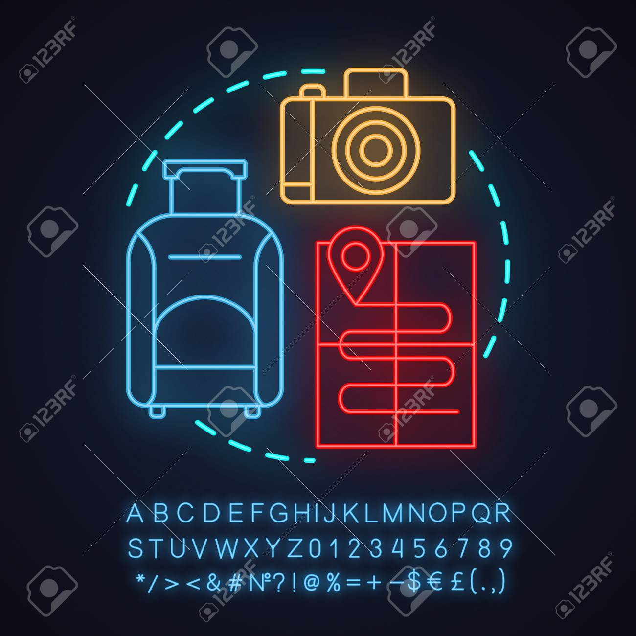 hight resolution of travel agency neon light concept icon going on trip idea travel planning baggage