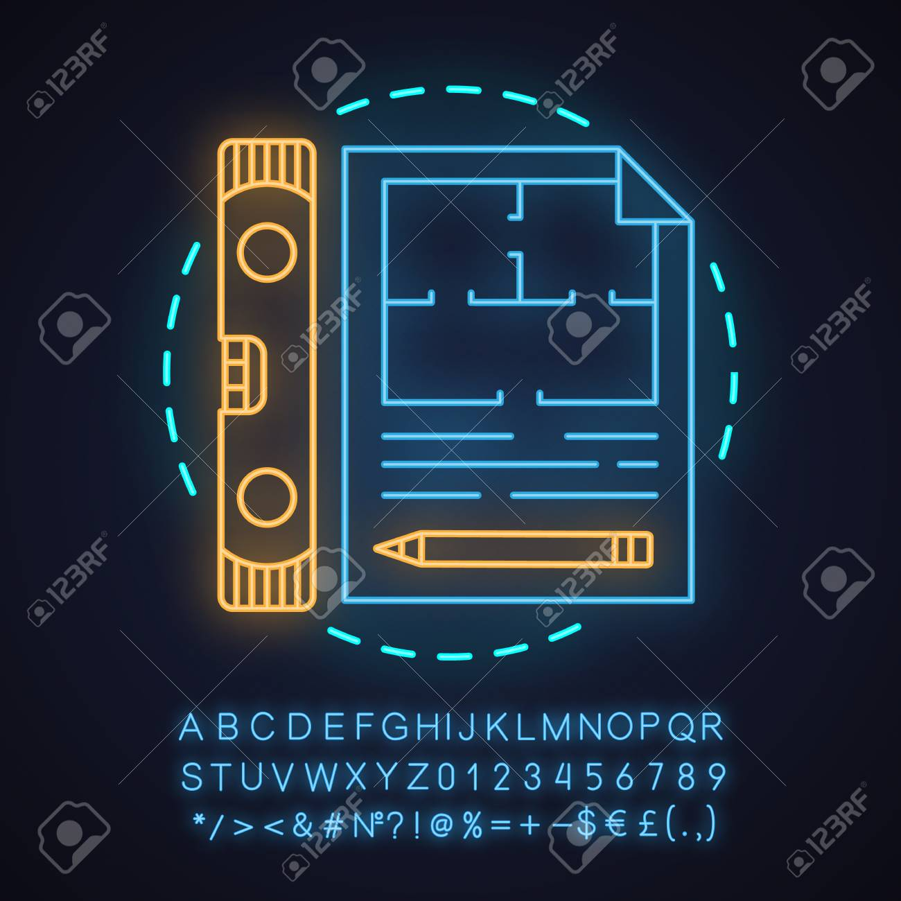 hight resolution of building project neon light concept icon blueprint idea floor plan glowing sign with