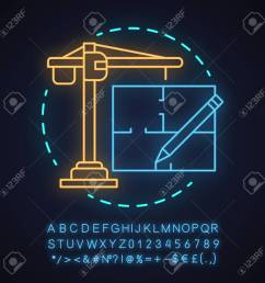 construction industry neon light concept icon architecture idea glowing sign with alphabet numbers [ 1300 x 1300 Pixel ]