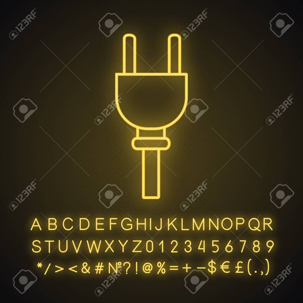medium resolution of electric plug neon light icon wiring power cable with plug glowing sign with