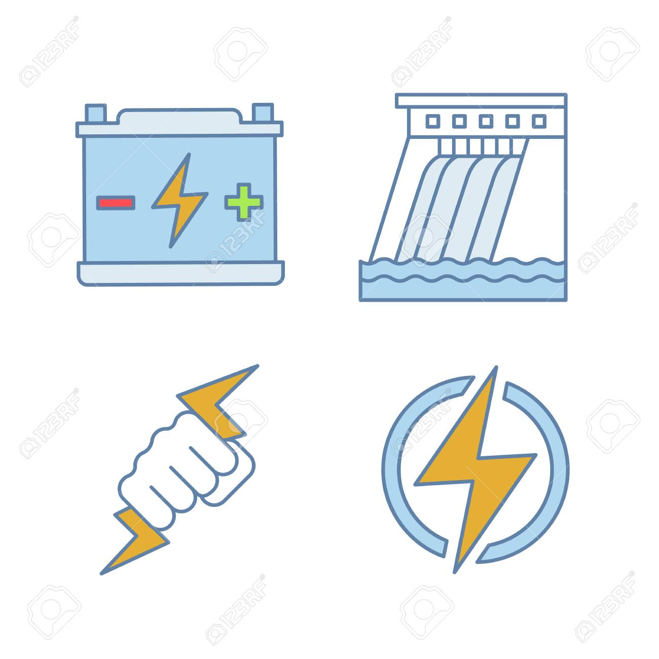 hight resolution of accumulator hydroelectric dam power fist lightning bolt