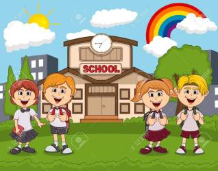Students In Front Of School Cartoon Royalty Free Cliparts Vectors And Stock Illustration Image 84617913