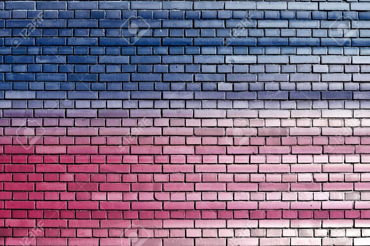 blue pink brick wall