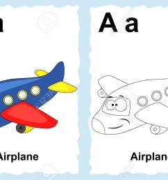 alphabet coloring book page with outline clip art to color letter a airplane  [ 1300 x 866 Pixel ]