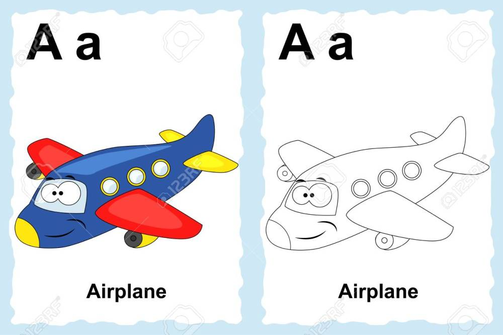 medium resolution of alphabet coloring book page with outline clip art to color letter a airplane