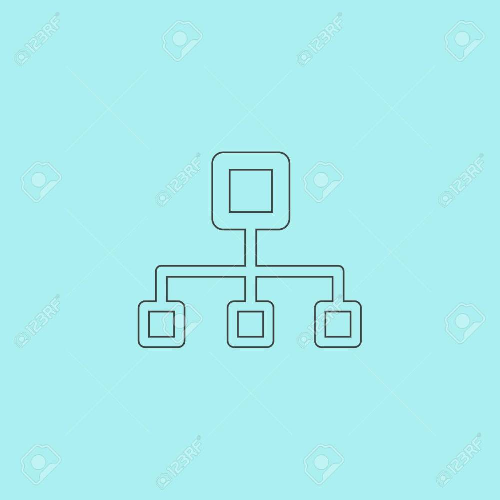 medium resolution of network block diagram simple outline flat vector icon isolated on blue background stock vector
