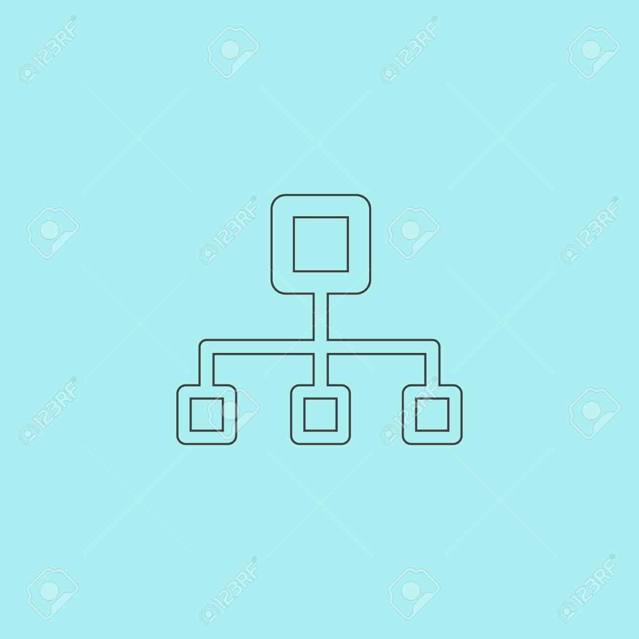 hight resolution of network block diagram simple outline flat vector icon isolated on blue background stock vector