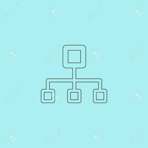 small resolution of network block diagram simple outline flat vector icon isolated on blue background stock vector