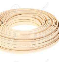 a large coil of plastic coated residential telephone wire on a white background stock photo  [ 1300 x 803 Pixel ]