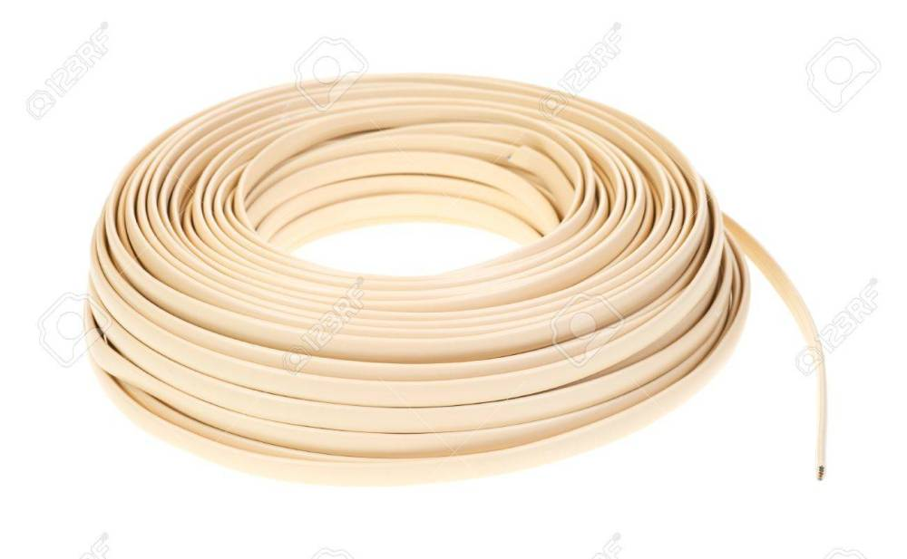 medium resolution of a large coil of plastic coated residential telephone wire on a white background stock photo