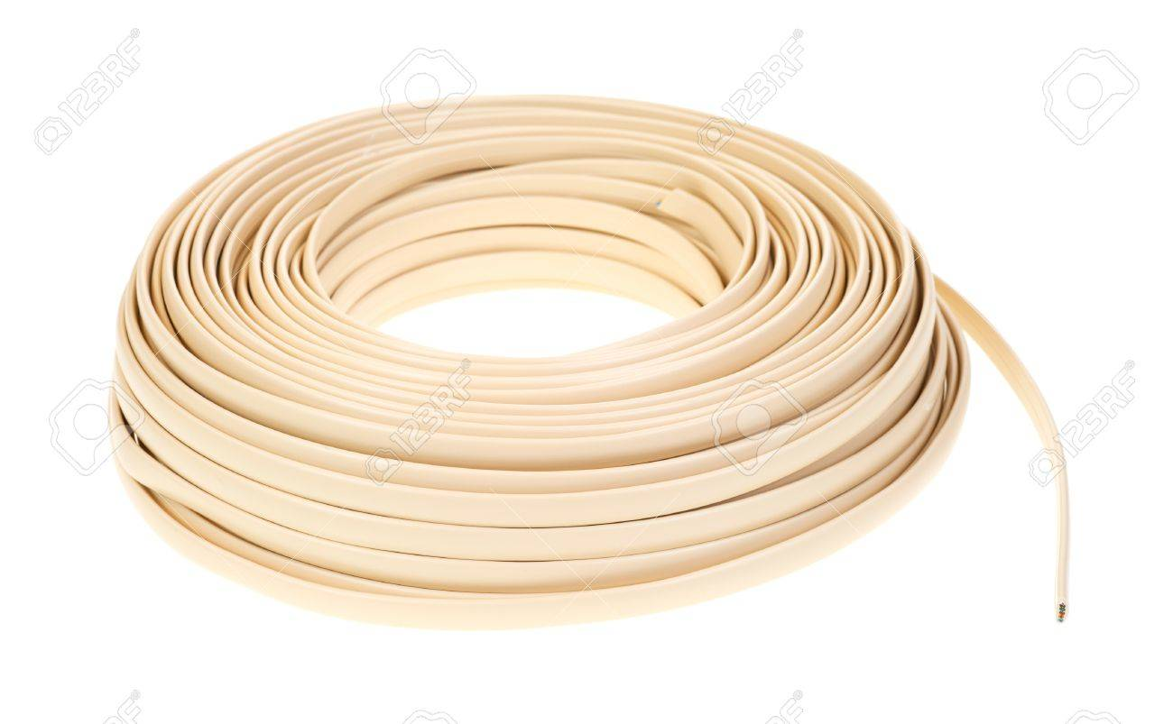 hight resolution of a large coil of plastic coated residential telephone wire on a white background stock photo