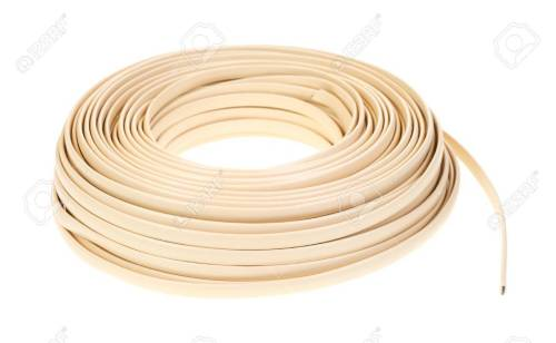 small resolution of a large coil of plastic coated residential telephone wire on a white background stock photo