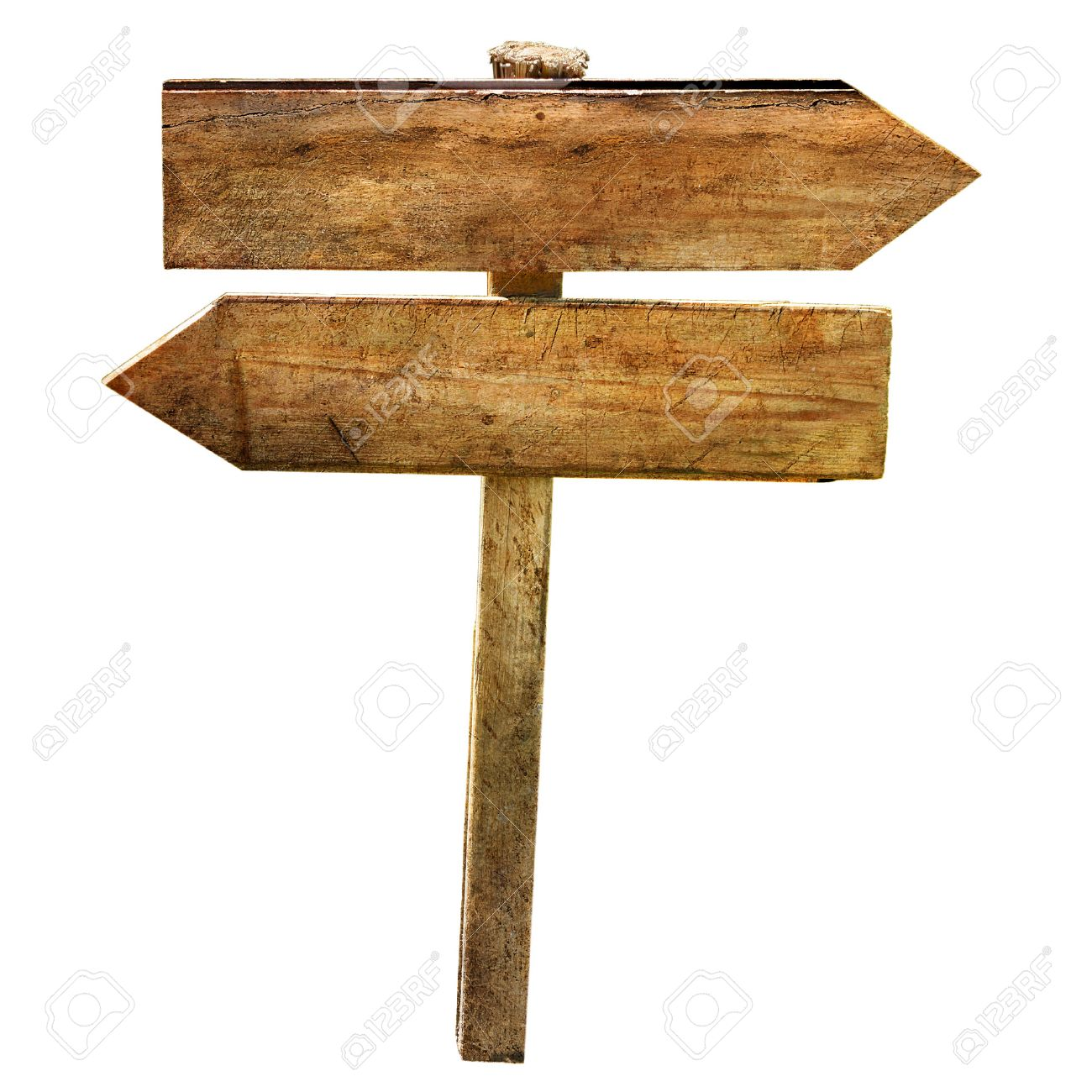 two blank wooden directional