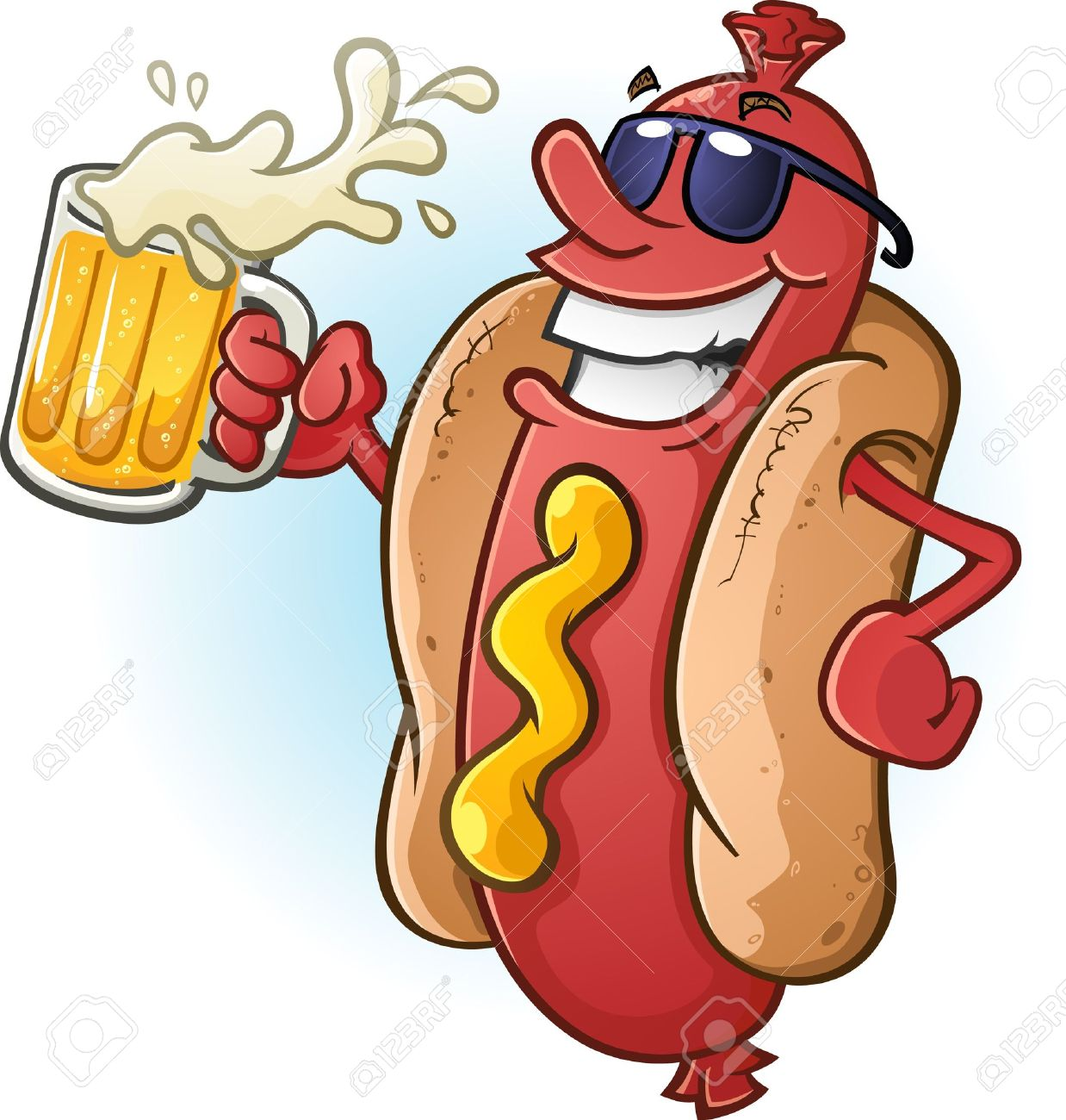 hight resolution of hot dog cartoon wearing sunglasses and drinking cold beer stock vector 20992154