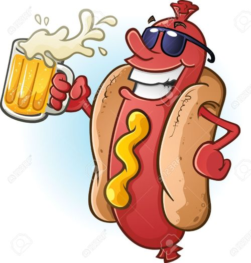 small resolution of hot dog cartoon wearing sunglasses and drinking cold beer stock vector 20992154
