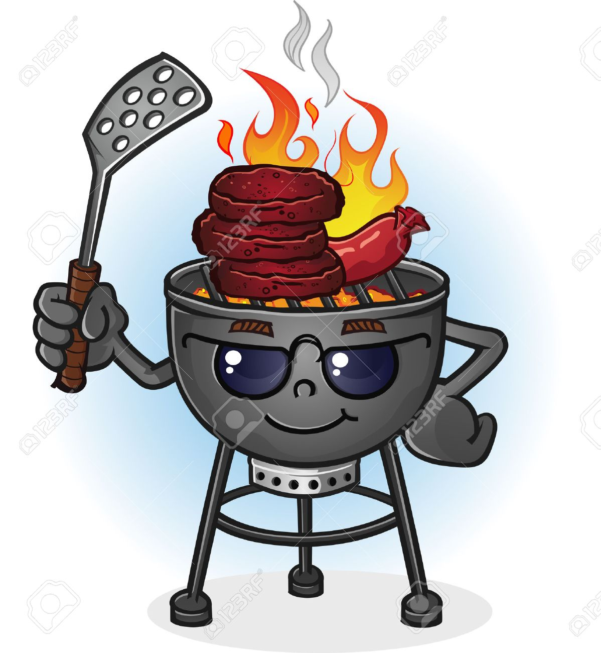 hight resolution of barbecue grill cartoon character with attitude stock vector 29305603