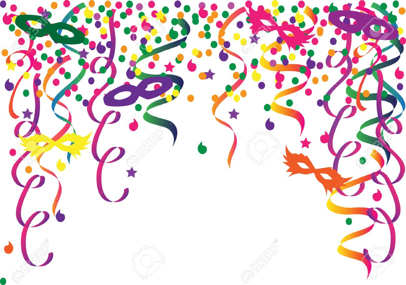 hight resolution of carnival background with confetti and ribbons