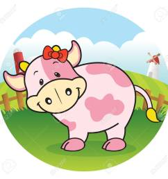 strawberry cow in dairy farm stock vector 23771496 [ 1300 x 1300 Pixel ]