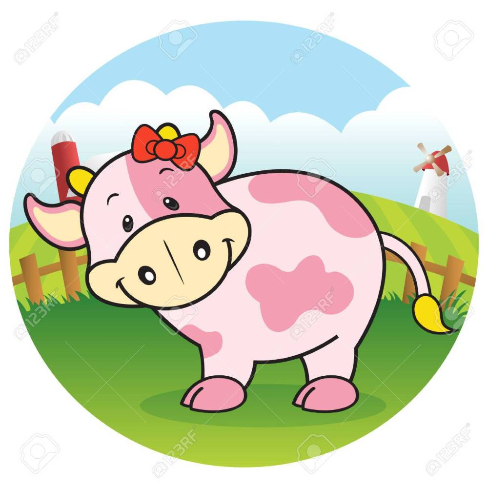 medium resolution of strawberry cow in dairy farm stock vector 23771496
