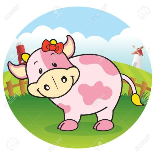 small resolution of strawberry cow in dairy farm stock vector 23771496