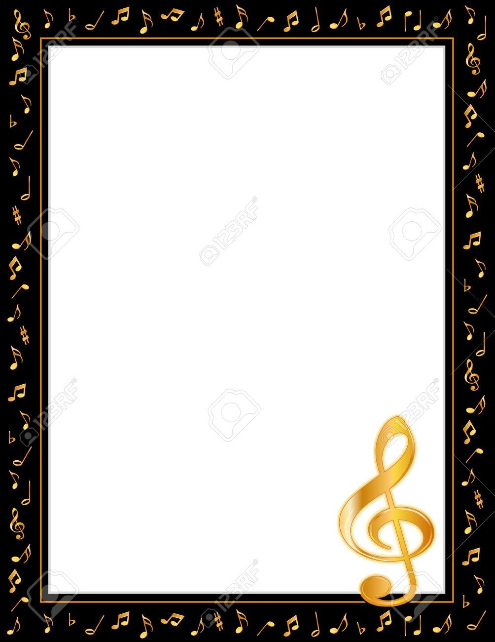music entertainment poster frame schwarzer rand gold noten notenschlussel vertikal