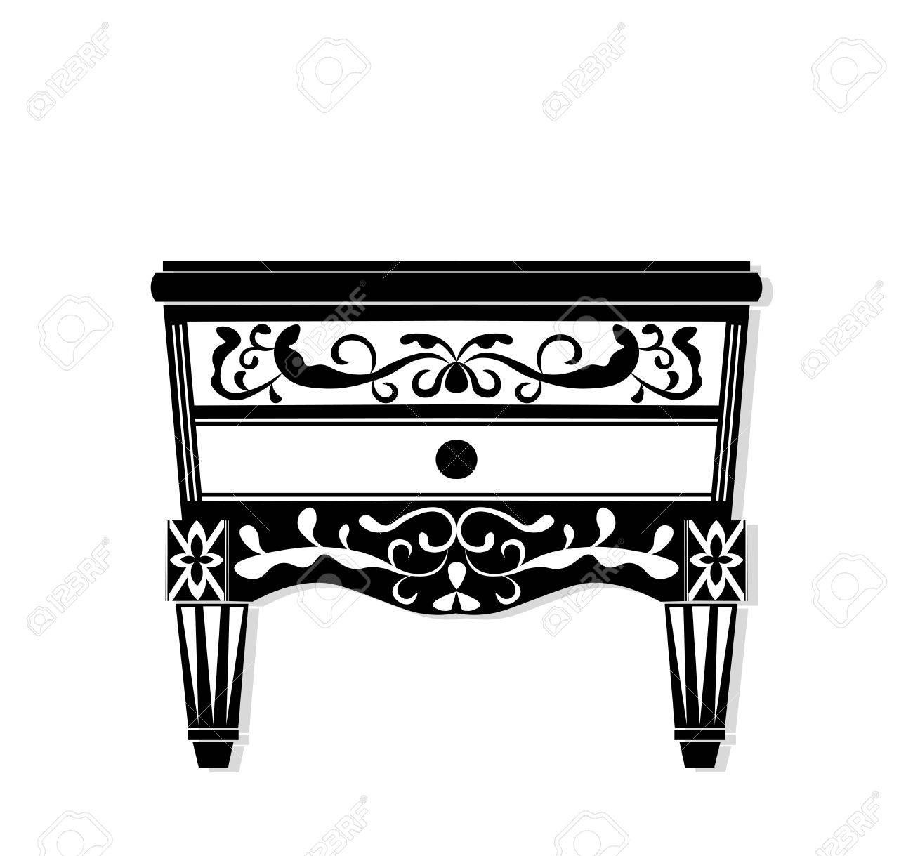 Vintage Black Furniture Vector Rich Carved Ornaments Furniture