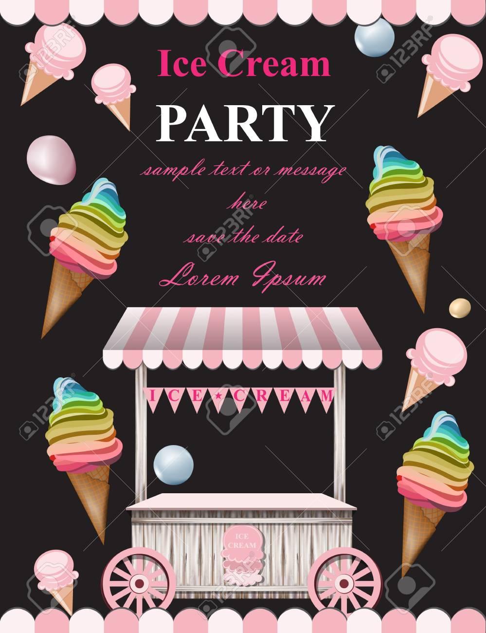 ice cream party invitation card vector summer ice cream booth