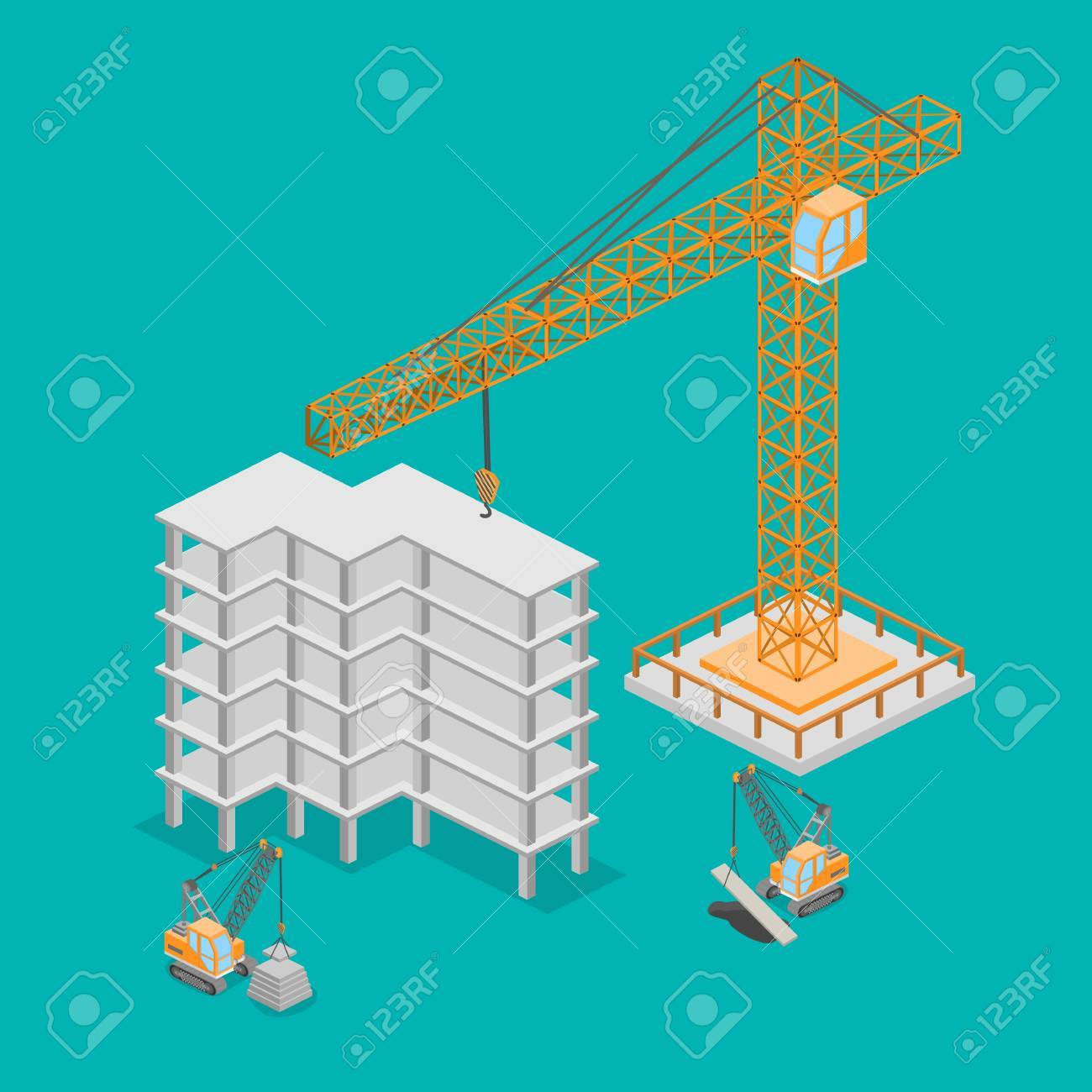 hight resolution of isometric 3d illustration truck crane construction construction of a multistory building stock vector
