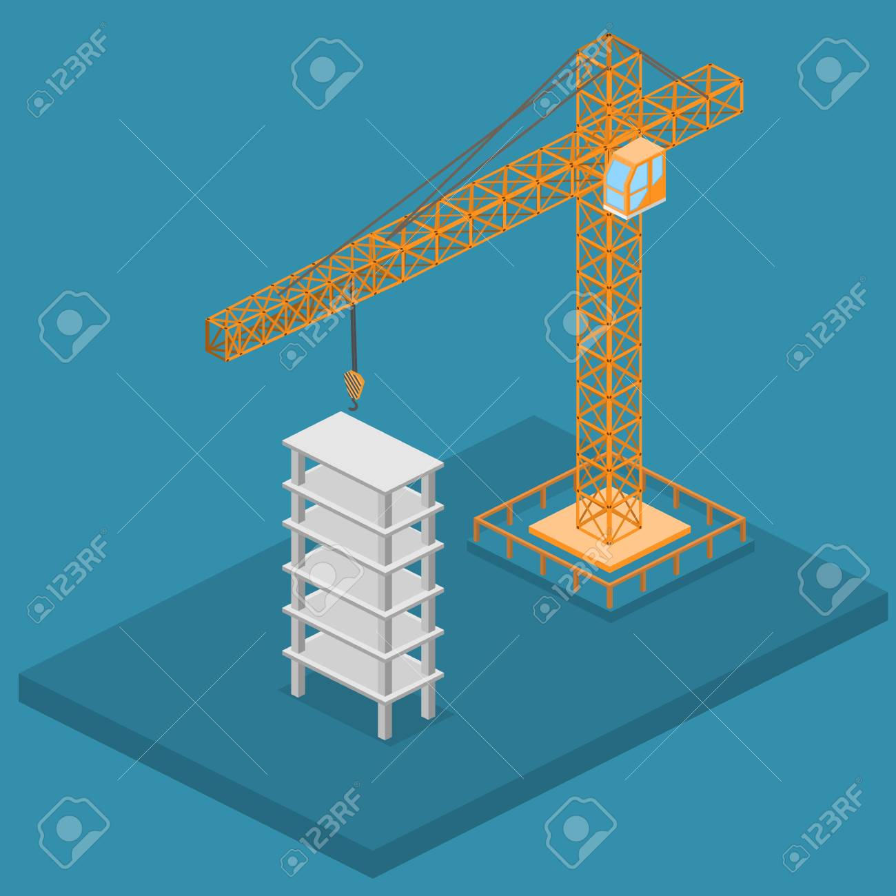 hight resolution of isometric 3d vector illustration truck crane construction construction of a multistory building stock vector