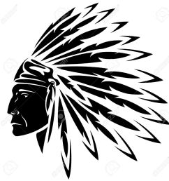 red indian chief black and white illustration stock vector 17478061 [ 1281 x 1300 Pixel ]