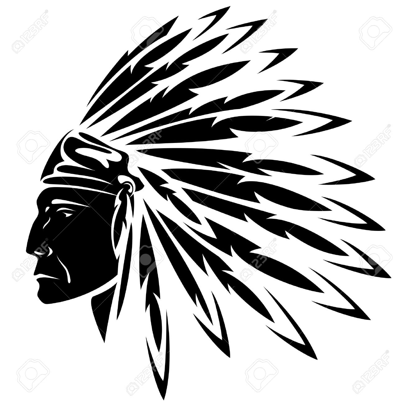 hight resolution of red indian chief black and white illustration stock vector 17478061