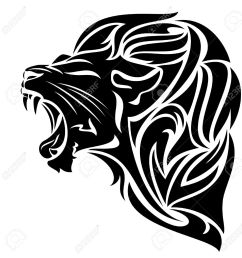 furious lion black and white vector outline tribal design [ 1271 x 1300 Pixel ]