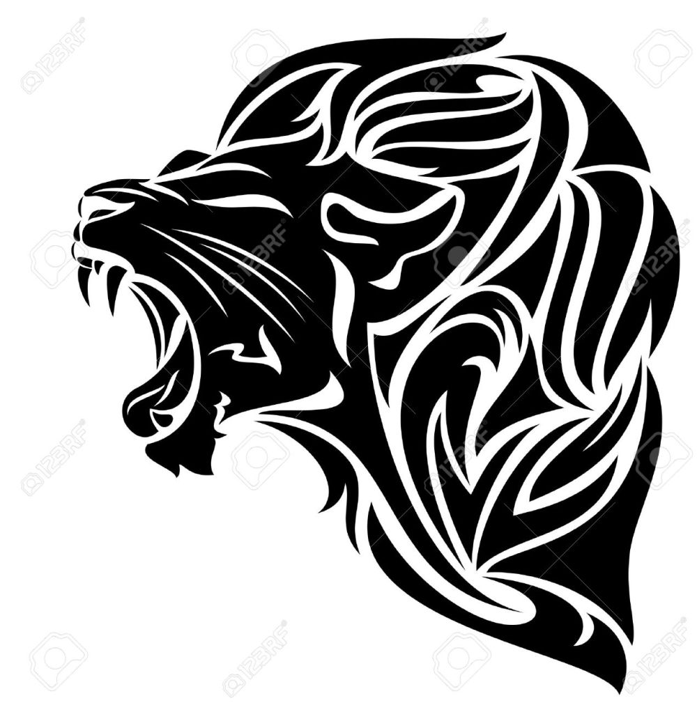 medium resolution of furious lion black and white vector outline tribal design