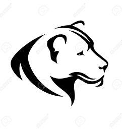 lioness head black and white profile simple vector design [ 1300 x 1295 Pixel ]