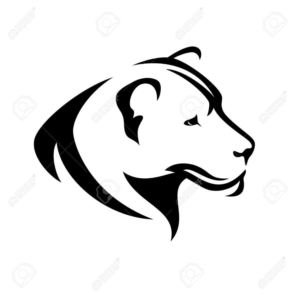 medium resolution of lioness head black and white profile simple vector design