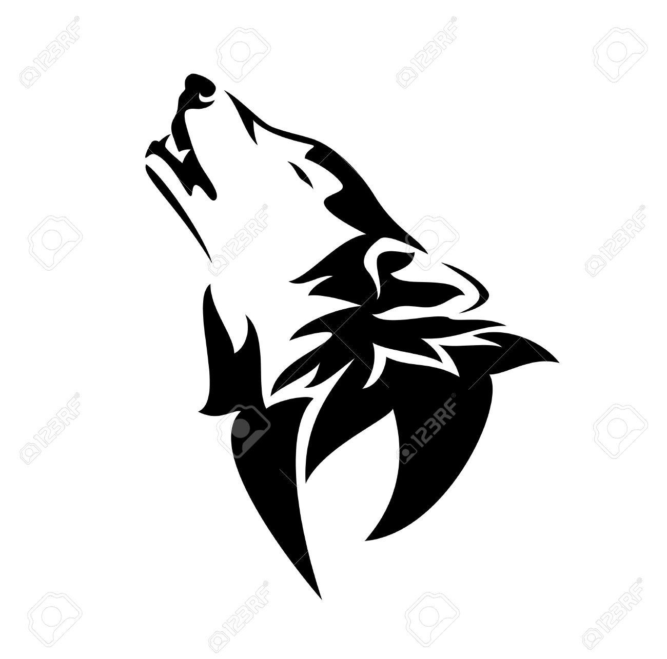 Aullando Diseño Lobo En Blanco Y Negro De Animales Contorno De La