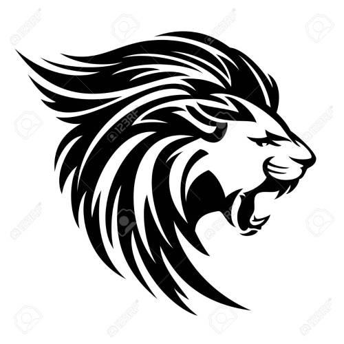 small resolution of roaring lion profile portrait side view animal head black and white vector design stock