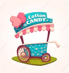 vector flat illustration of cotton candy cart illustration [ 1300 x 1300 Pixel ]