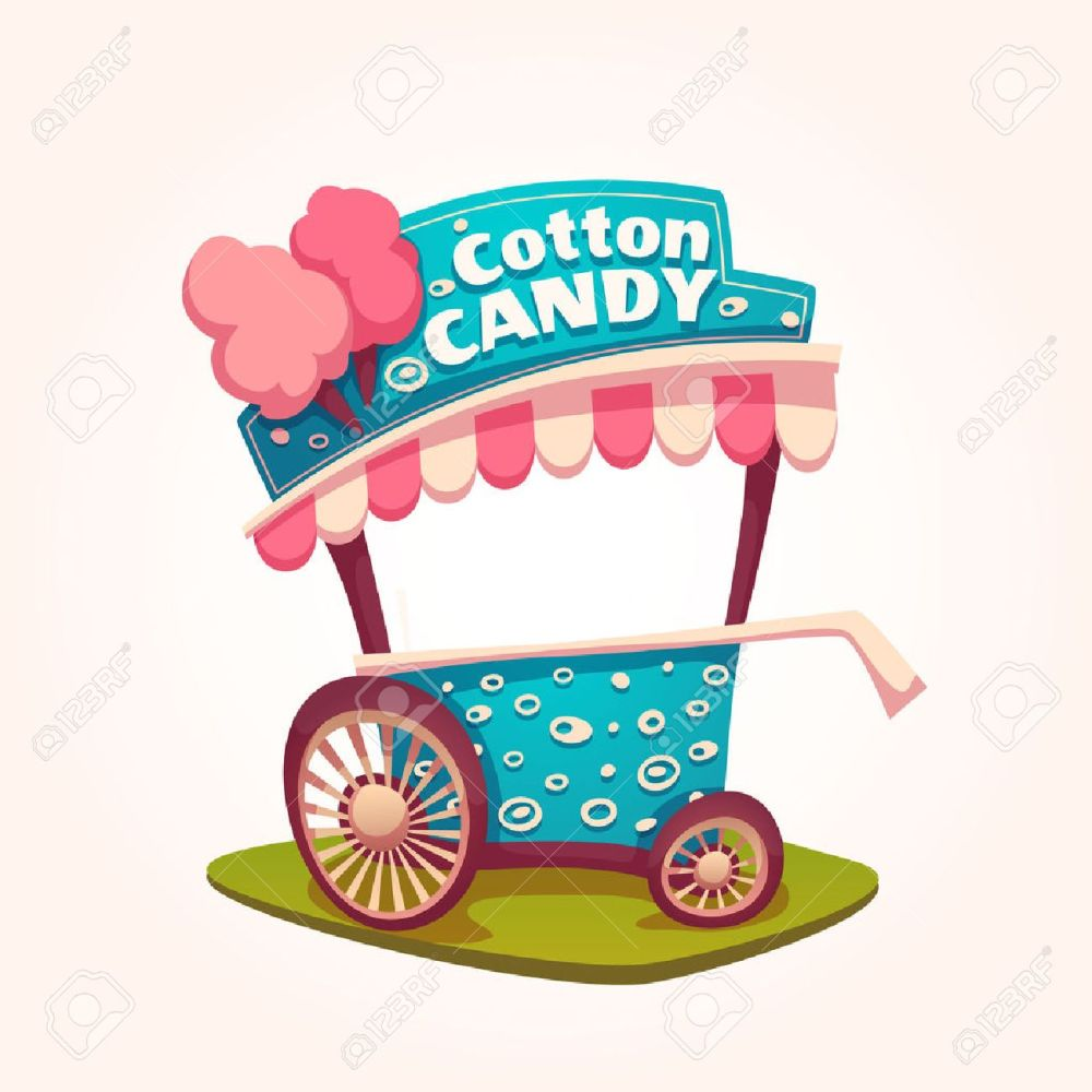 medium resolution of vector flat illustration of cotton candy cart illustration