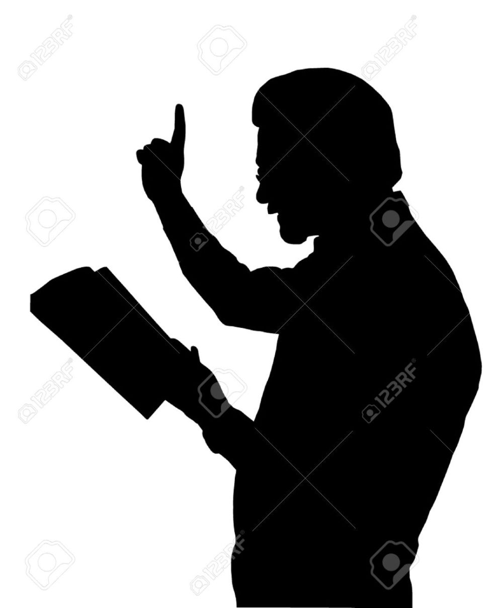 medium resolution of preacher reading from bible with raised finger stock vector 12480096