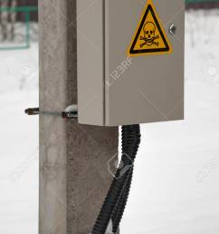 electric box with wires on pole green bush on background stock photo 96454437 [ 863 x 1300 Pixel ]