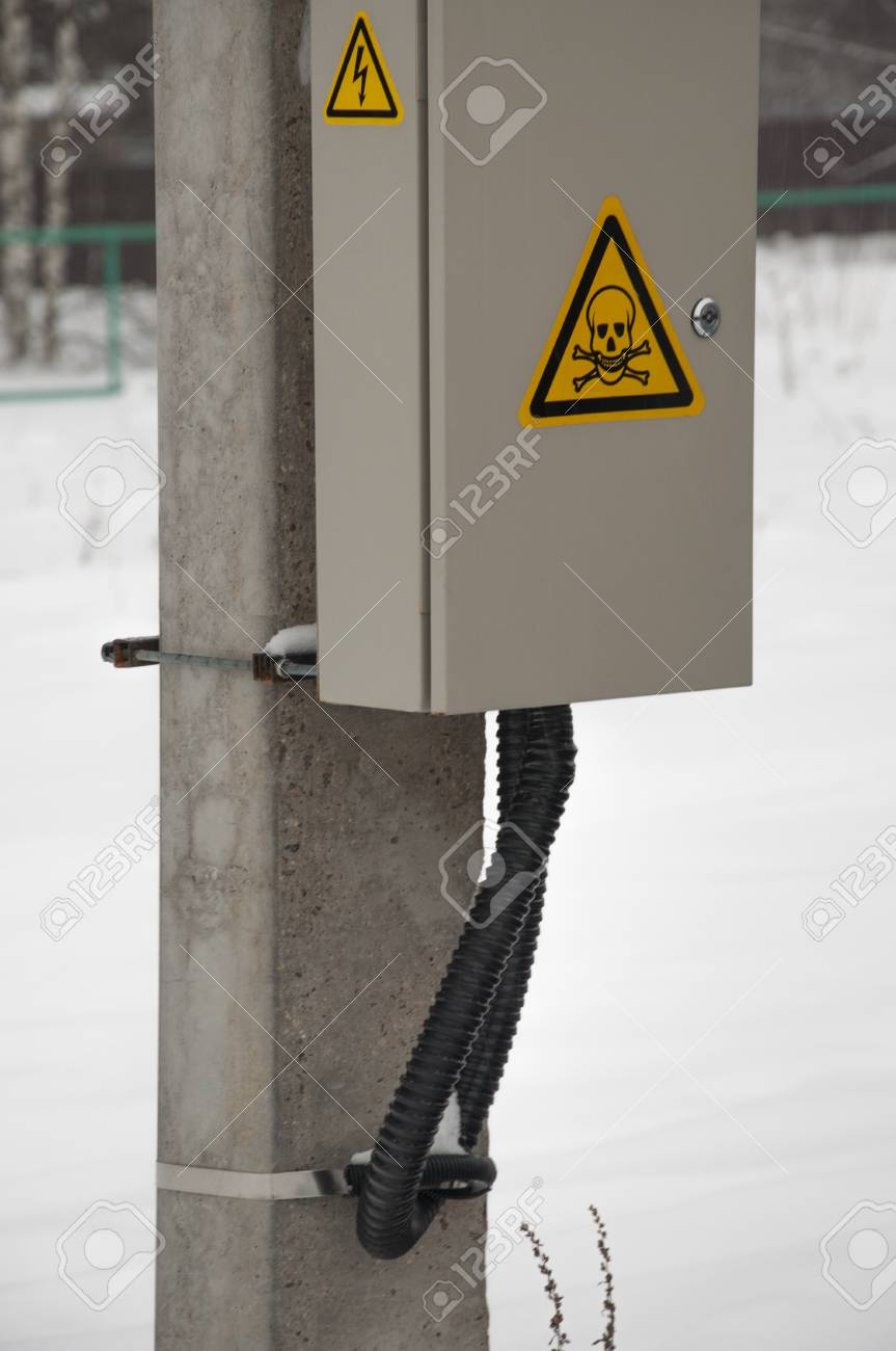 medium resolution of electric box with wires on pole green bush on background stock photo 96454437