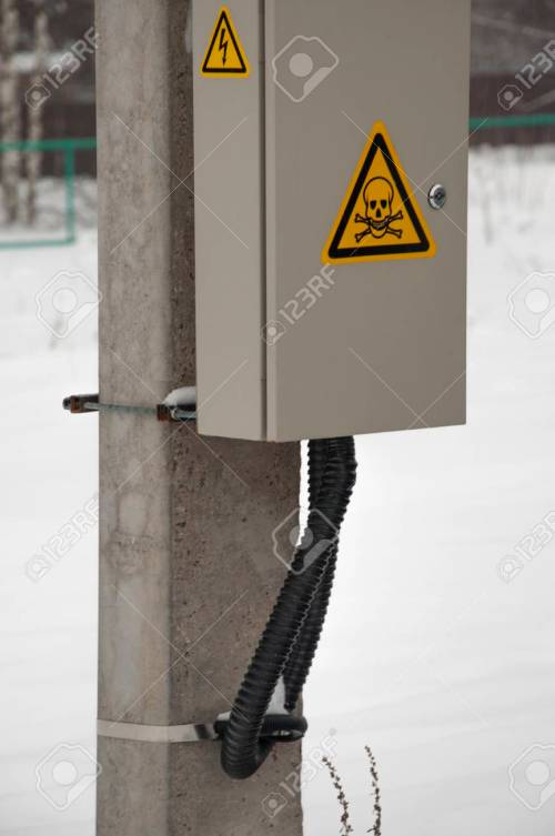 small resolution of electric box with wires on pole green bush on background stock photo 96454437