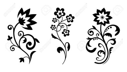 Silhouettes Of Abstract Vintage Flowers Royalty Free Cliparts Vectors And Stock Illustration Image 15276240