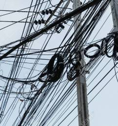 electrical cables with telephone lines tangled messy in bangkok city thailand stock photo 50818180 [ 1300 x 866 Pixel ]