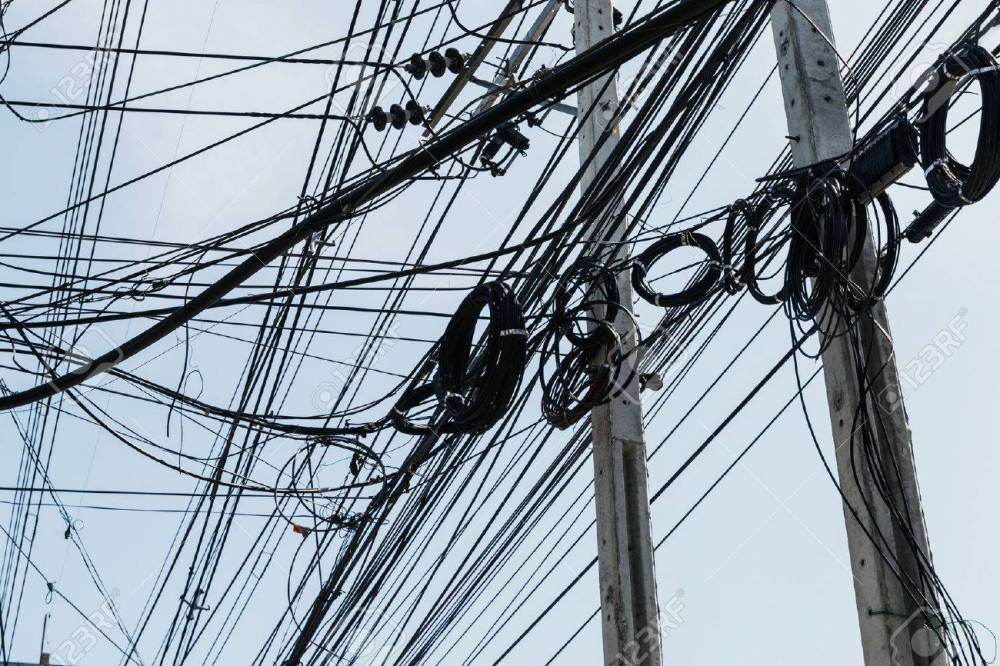 medium resolution of electrical cables with telephone lines tangled messy in bangkok city thailand stock photo 50818180