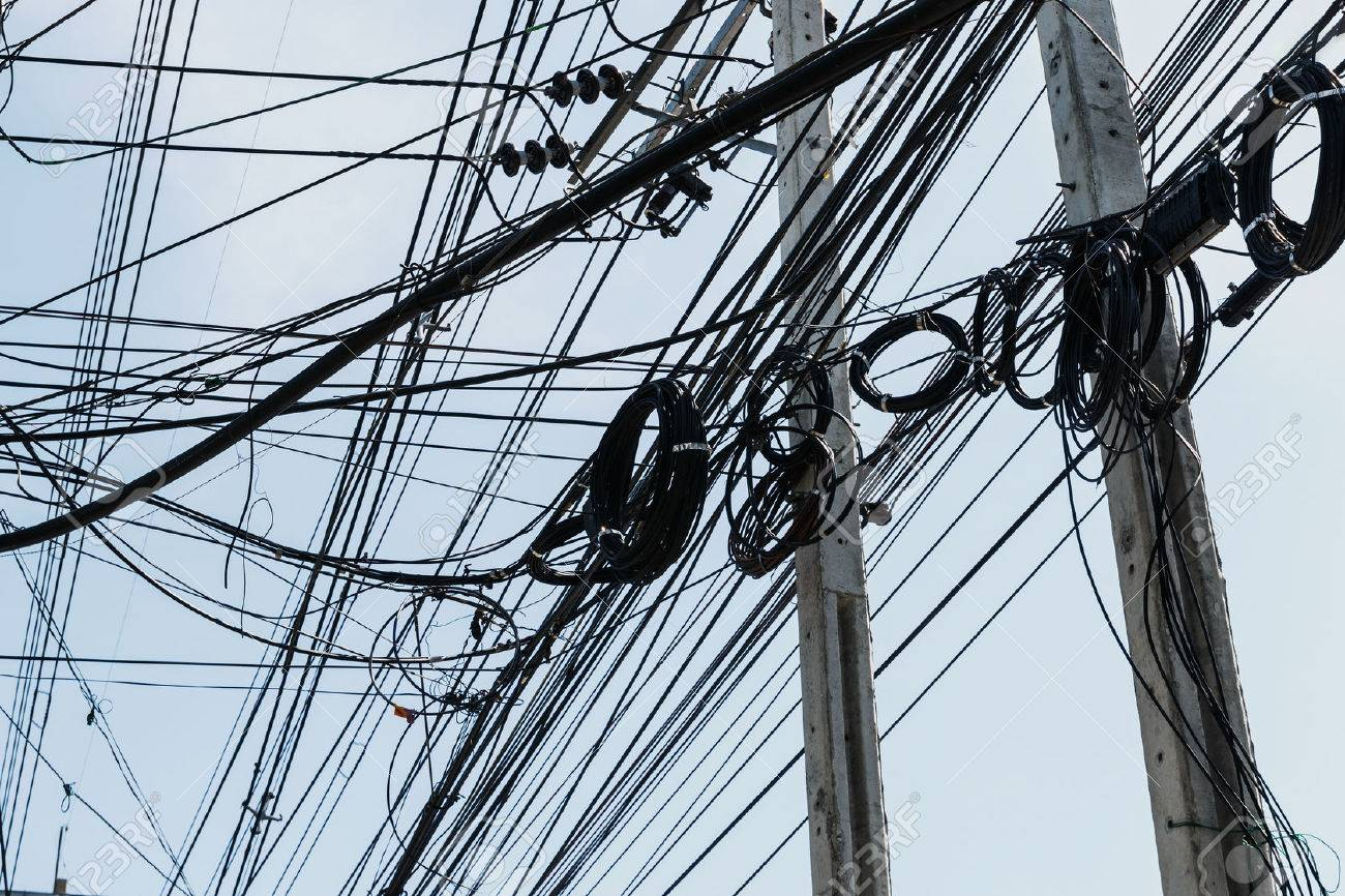 hight resolution of electrical cables with telephone lines tangled messy in bangkok city thailand stock photo 50818180