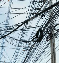 electrical cables with telephone lines tangled messy in bangkok city thailand stock photo 50818344 [ 866 x 1300 Pixel ]