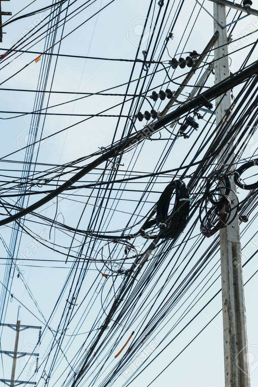 medium resolution of electrical cables with telephone lines tangled messy in bangkok city thailand stock photo 50818344